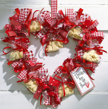 Why not make a ribbon wreath for Valentine